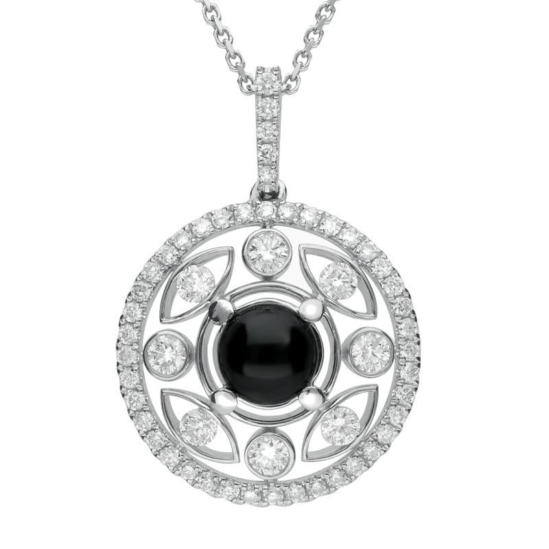 18ct White Gold Whitby Jet 0.60ct Diamond Surround Round Necklace