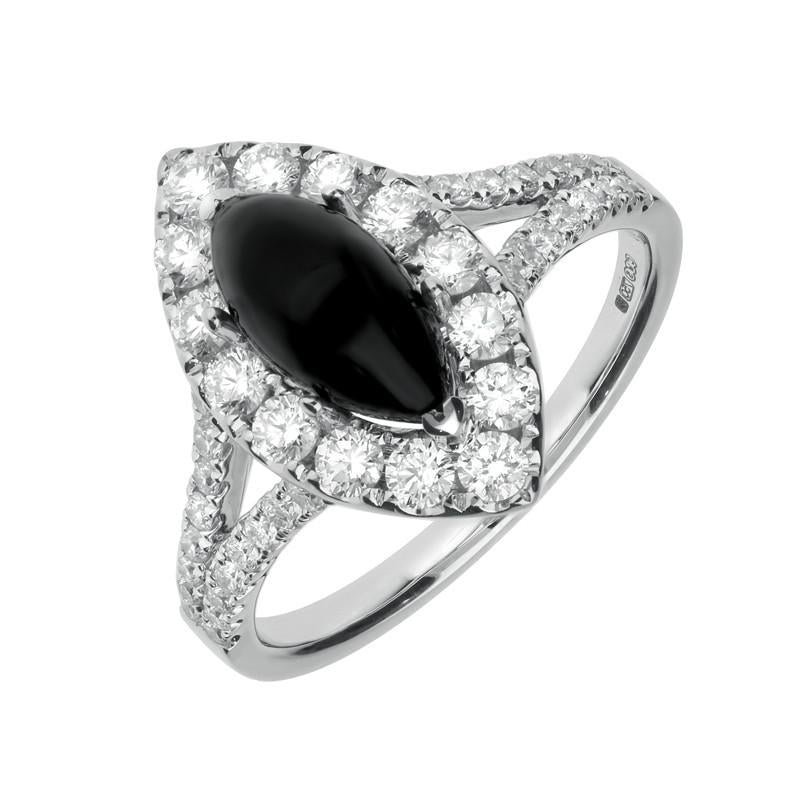 18ct White Gold Whitby Jet 0.89ct Diamond Marquise Ring