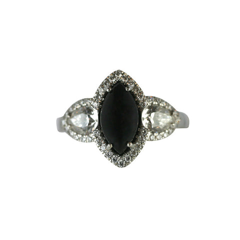 18ct White Gold Whitby Jet 1.27ct Diamond Marquise Shape Pear Shoulder Ring