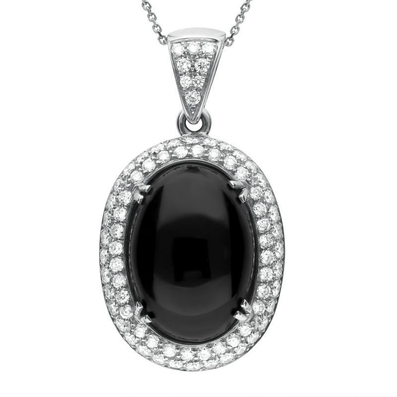 18ct White Gold Whitby Jet 1.57ct Diamond Large Oval Necklace