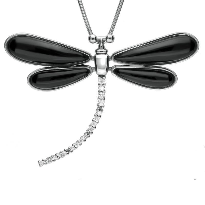 18ct White Gold Whitby Jet Diamond Dragonfly Necklace