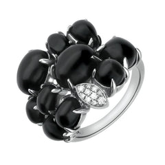 18ct White Gold Whitby Jet Diamond Multi Shape Stone Ring