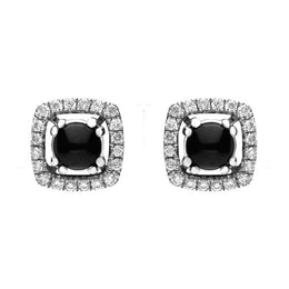 18ct White Gold Whitby Jet 0.12ct Diamond Pave Set Cushion Earrings E1988