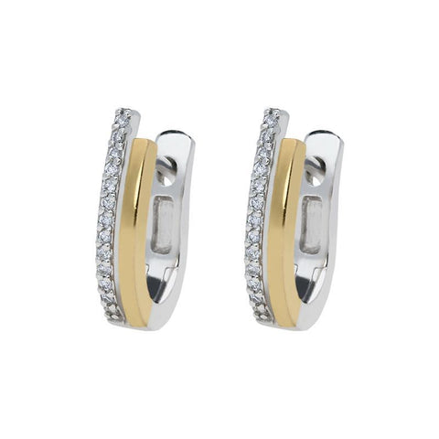18ct White and Yellow Gold 0.13ct Diamond Hoop Earrings