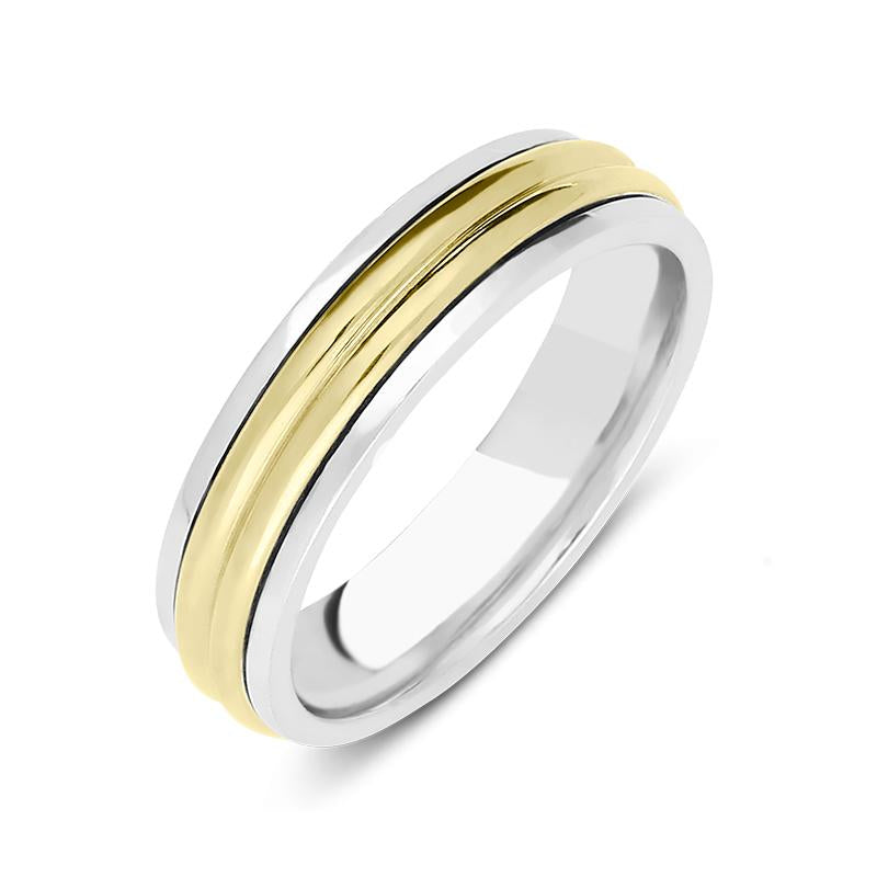 18ct White and Yellow Gold Textured Wedding Ring