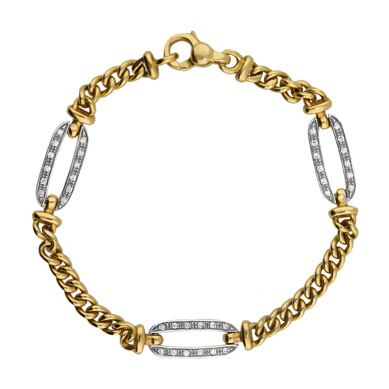 18ct Yellow and White Gold 0.18 Carat Diamond Bracelet