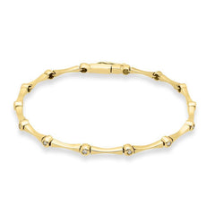 18ct Yellow Gold 0.14ct Diamond Bar Bracelet