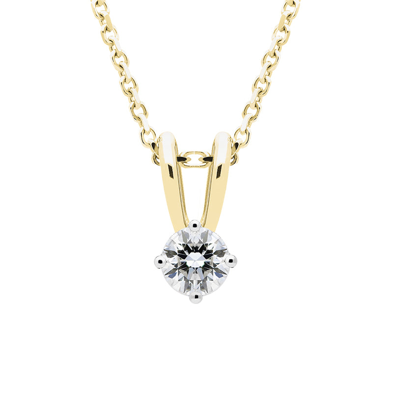 18ct Yellow Gold 0.10 Carat Diamond Solitaire Necklace