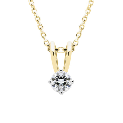 18ct Yellow Gold 0.10ct Diamond Solitaire Necklace