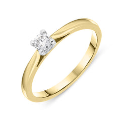 18ct Yellow Gold 0.16ct Diamond Brilliant Cut Solitaire Ring