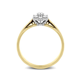 18ct Yellow Gold 0.16ct Diamond Flower Cluster Ring, FEU-572.