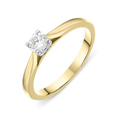 18ct Yellow Gold 0.25ct Diamond Brilliant Cut Solitaire Ring