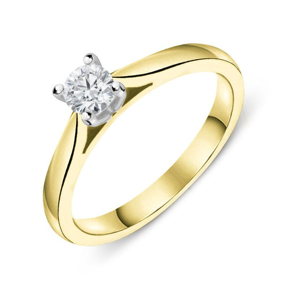 18ct Yellow Gold 0.25ct Diamond Brilliant Cut Solitaire Ring FEU-2080