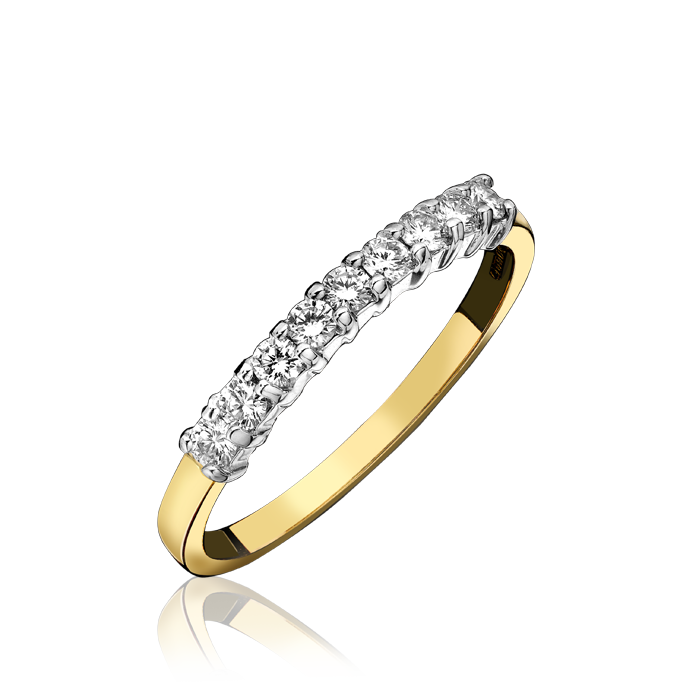 18ct Yellow Gold 0.27ct Diamond Nine Stone Half Eternity Ring