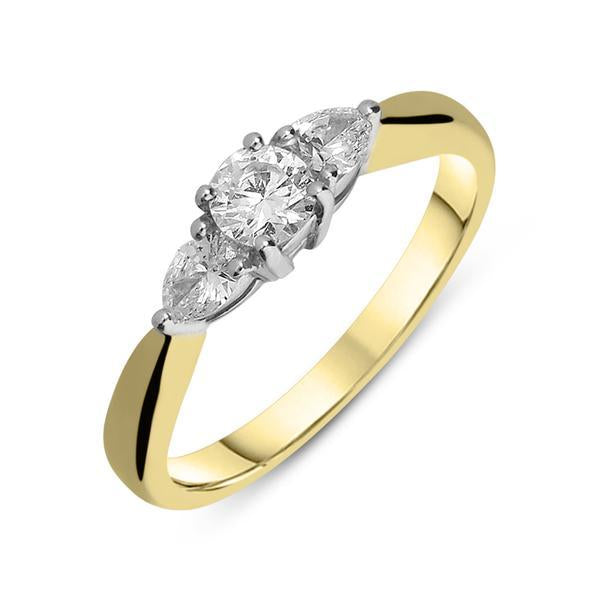 18ct Yellow Gold Diamond Claw Set Trilogy Ring