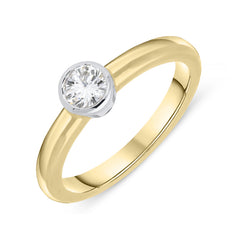 18ct Yellow Gold 0.33ct Diamond Bezel Set Solitaire Ring