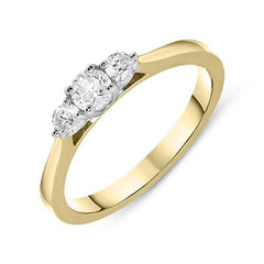 18ct Yellow Gold 0.35ct Diamond Brilliant Cut Trilogy Ring