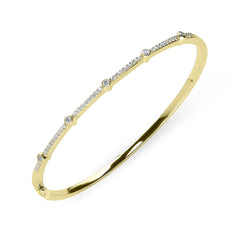 18ct Yellow Gold 0.35ct Diamond Hinged Bangle