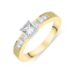 18ct Yellow Gold 0.35ct Princess Cut Diamond Ring