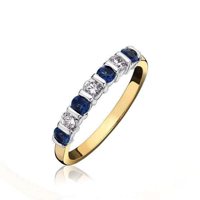 18ct Yellow Gold 0.38ct Sapphire Diamond Bar Set Eternity Ring
