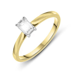 18ct Yellow Gold 0.39ct Diamond Emerald Cut Solitaire Ring