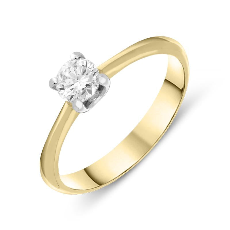 18ct Yellow Gold 0.40ct Diamond Brilliant Cut Certified Solitaire Ring