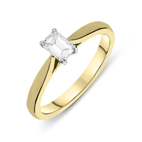 18ct Yellow Gold 0.40ct Diamond Solitaire Emerald Cut Claw Set Ring