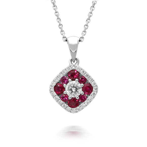 18ct White Gold 0.41ct Ruby Diamond Square Cluster Necklace FEU-342
