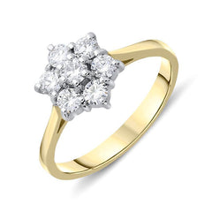 18ct Yellow Gold 0.49ct Diamond Flower Cluster Ring