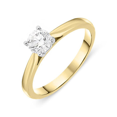 18ct Yellow Gold 0.51ct Diamond Brilliant Cut Solitaire Ring