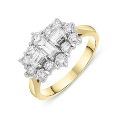 18ct Yellow Gold Diamond Baguette Cut Cluster Ring