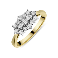 18ct Yellow Gold 0.62ct Diamond Baguette and Brilliant Cut Cluster Ring