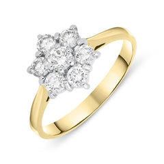 18ct Yellow Gold 0.63ct Diamond Star Cluster Ring