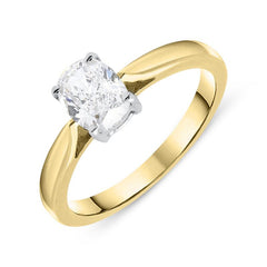 18ct Yellow Gold 0.74ct Diamond Oval Solitaire Ring