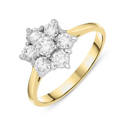 18ct Yellow Gold 0.77ct Diamond Flower Cluster Ring. FEU-570.