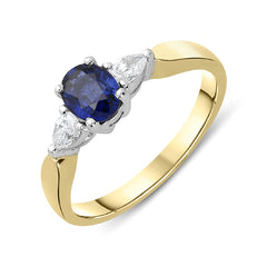 18ct Yellow Gold 0.84ct Sapphire Diamond Oval Cut Trilogy Ring
