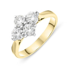 18ct Yellow Gold 1.00ct Diamond Cluster Ring