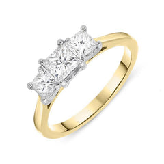 18ct Yellow Gold 1.00ct Diamond Princess Cut Trilogy Ring
