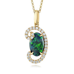 18ct Yellow Gold 1.08ct Black Opal Diamond Swirl Necklace