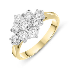 18ct Yellow Gold 1.19ct Diamond Cluster Ring