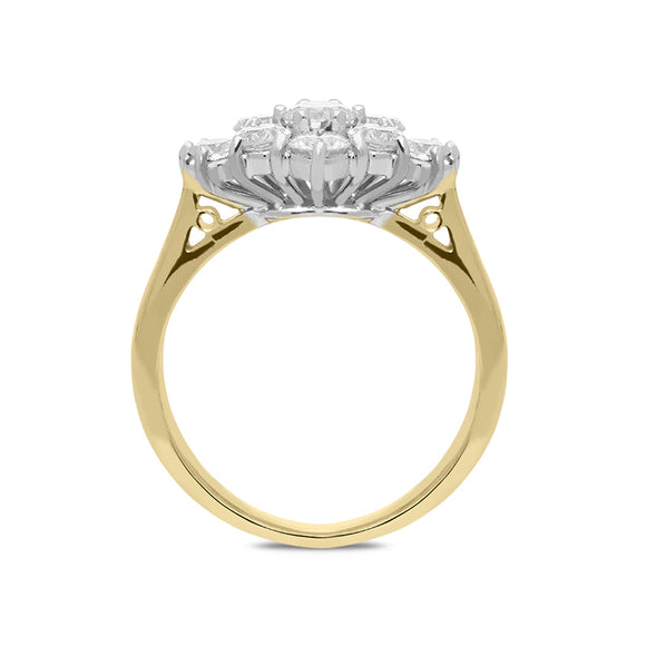 18ct Yellow Gold 1.19ct Diamond Cluster Ring. FEU-569.
