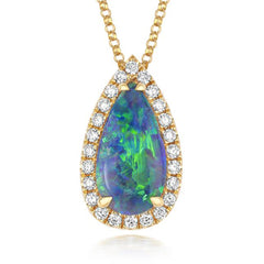 18ct Yellow Gold 1.53ct Black Opal Diamond Pear Cut Necklace