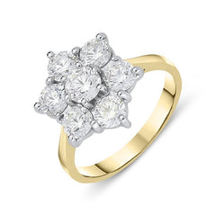 18ct Yellow Gold 2.07ct Diamond Flower Cluster Ring
