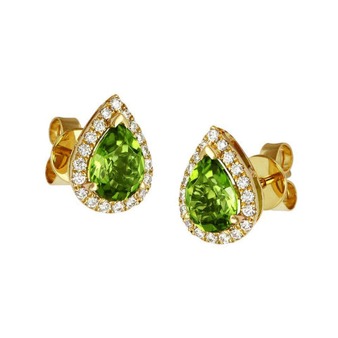 18ct Yellow Gold 2.52ct Peridot Diamond Stud Earrings