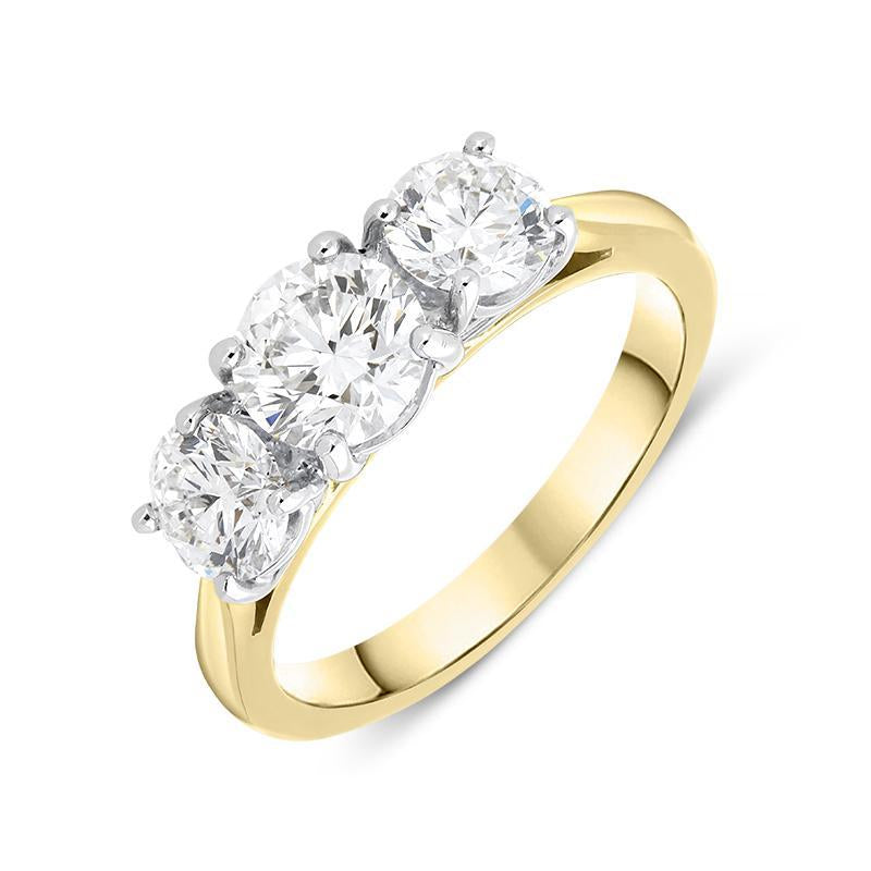 18ct Yellow Gold 2.95ct Diamond Brilliant Cut Trilogy Ring