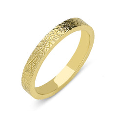 18ct Yellow Gold 3mm Patterned Wedding Ring