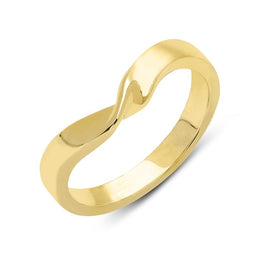 18ct Yellow Gold 3mm Wishbone Twist Wedding Ring, CGN-276.