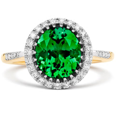 18ct Yellow Gold 4.09ct Green Tourmaline Diamond Oval Cut Ring