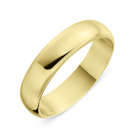 18ct Yellow Gold 5mm D-Shaped Wedding Ring