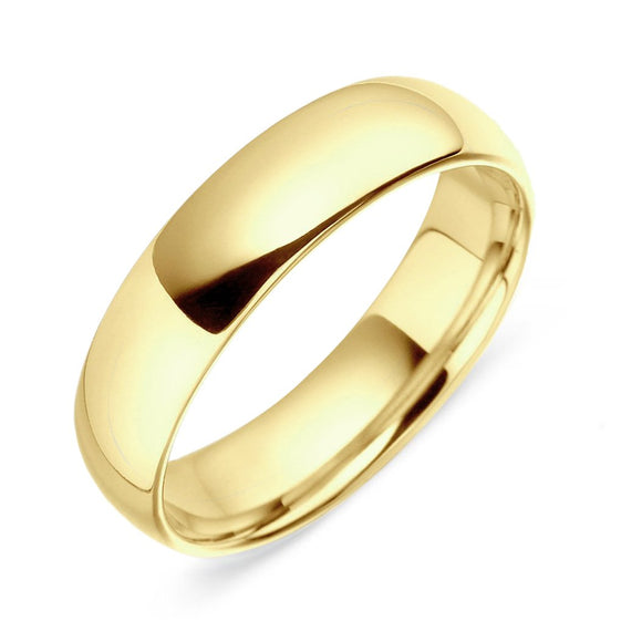 18ct Yellow Gold 6mm Light Court Wedding Ring, CGN-140.